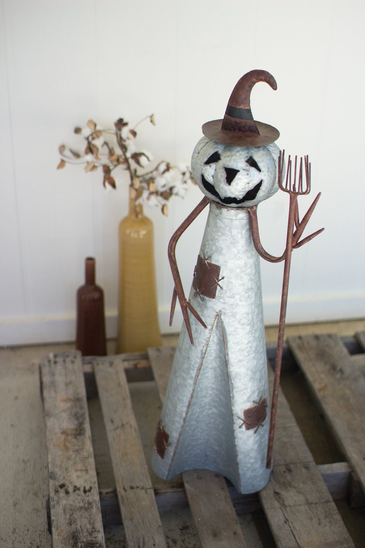 Rustic Jack O Lantern Witch With Broom Halloween Home