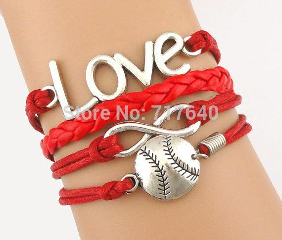 Love Infinity New Arrival Fashion Baseball Softball Charm Bracelet 22 Colors Are Available 6