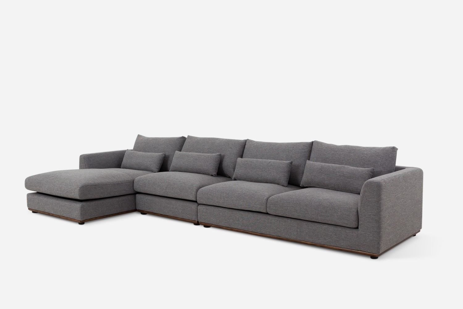 Alfie Extended Chaise Sectional Sofa Checked Gray Right Facing Castlery Sectional Sofa Castlery Sectional
