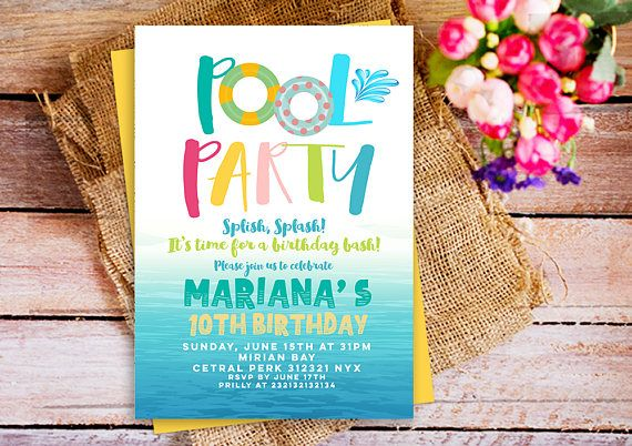 pool party invitation splish splash birthday invitation girls pool