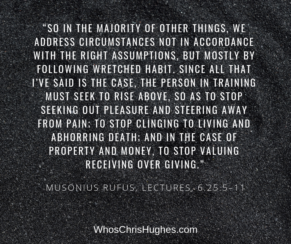 So in the majority of other things, we address circumstances not in accordance with the right assumptions, but mostly by follo… | Stoic quotes, Rise above, Sayings