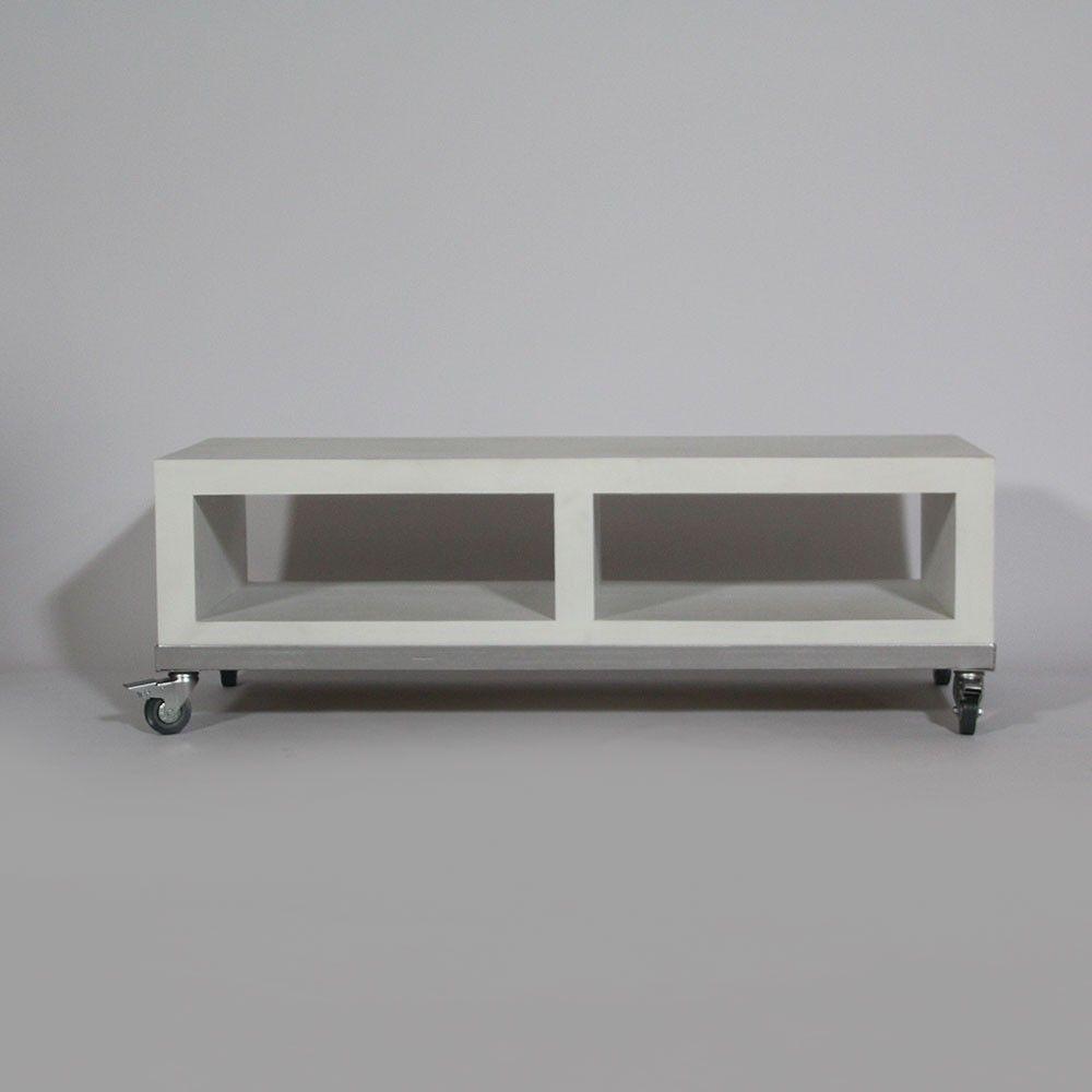 Meuble Tv Kubik Avec 2 Niches En Bois Blanchi Et M Tal Et  # Mode De Commode Avec Table Tele