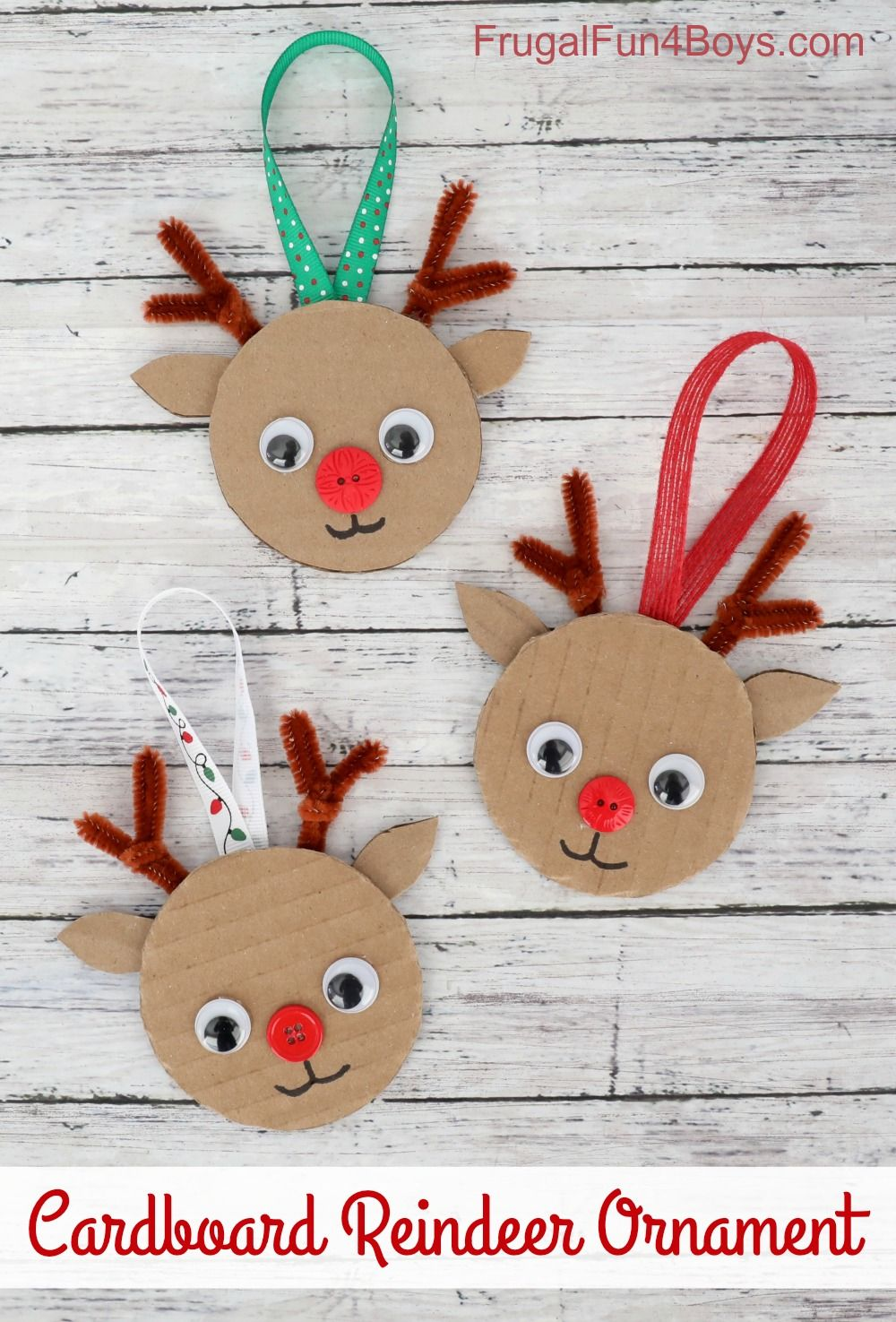Cardboard Reindeer Ornament Christmas Craft for Kids - Frugal Fun For Boys and Girls