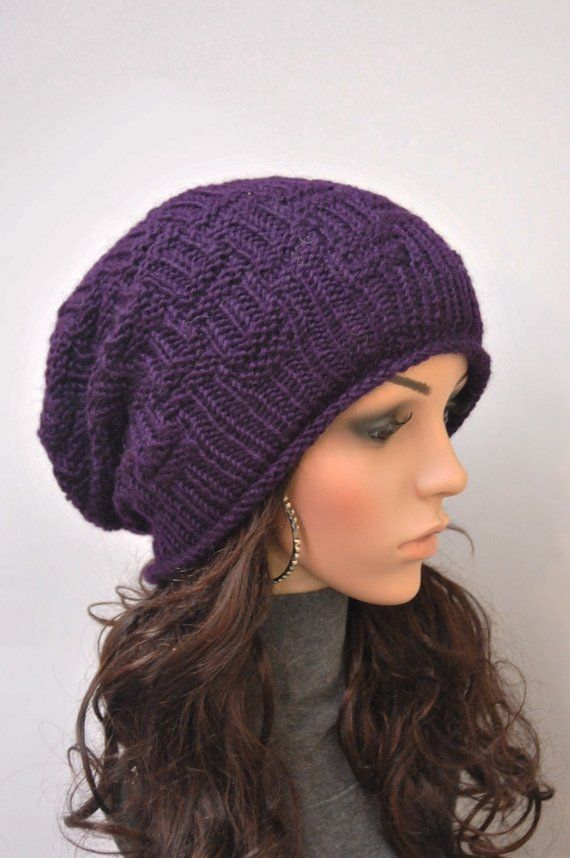 d6d7f907 Hand Knit hat woman winter hat slouchy hat Chunky Wool Hat purple hat  -ready to ship