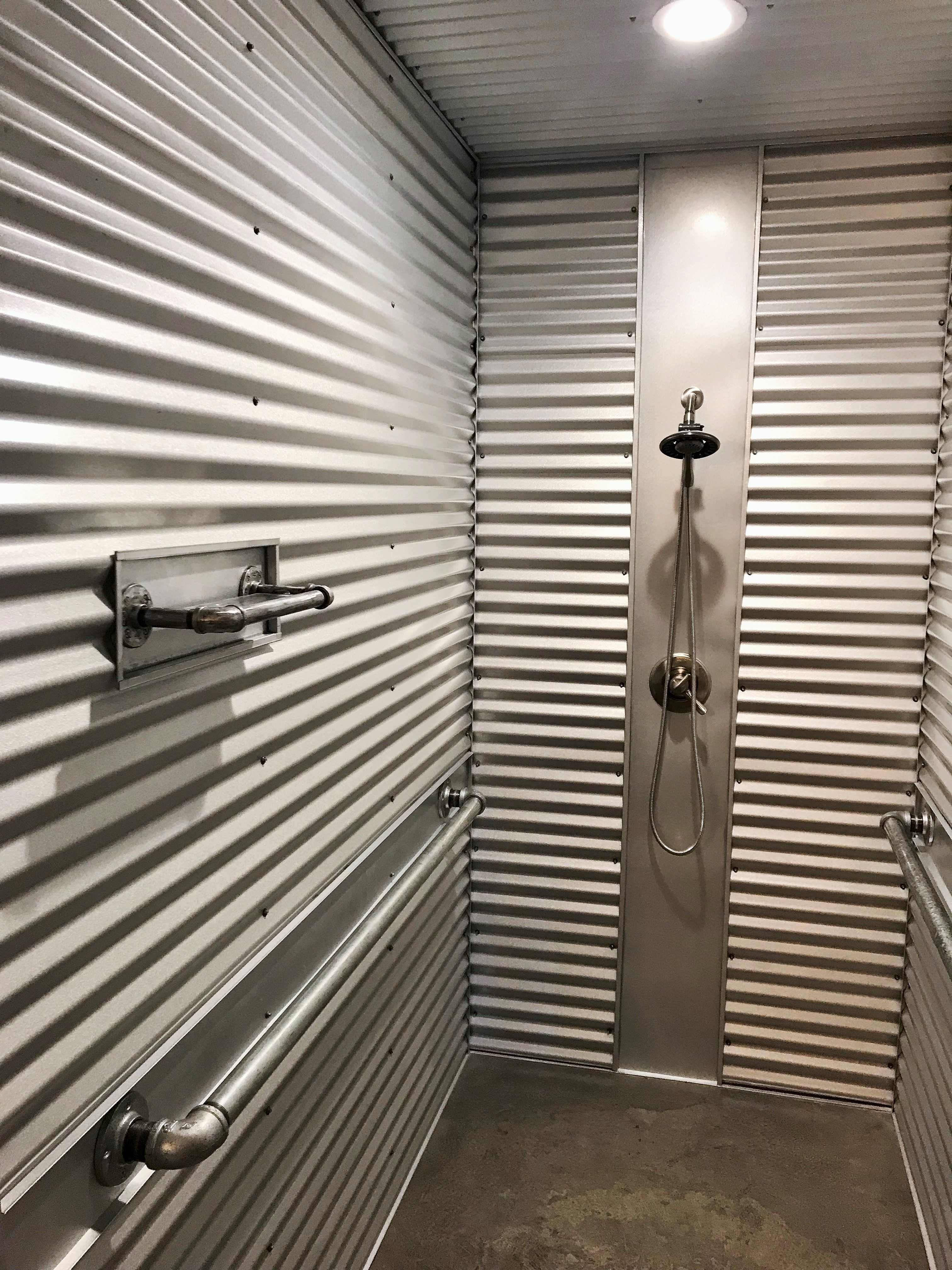 Shower With Galvalume Corrugated Metal Walls Custom Made Steel