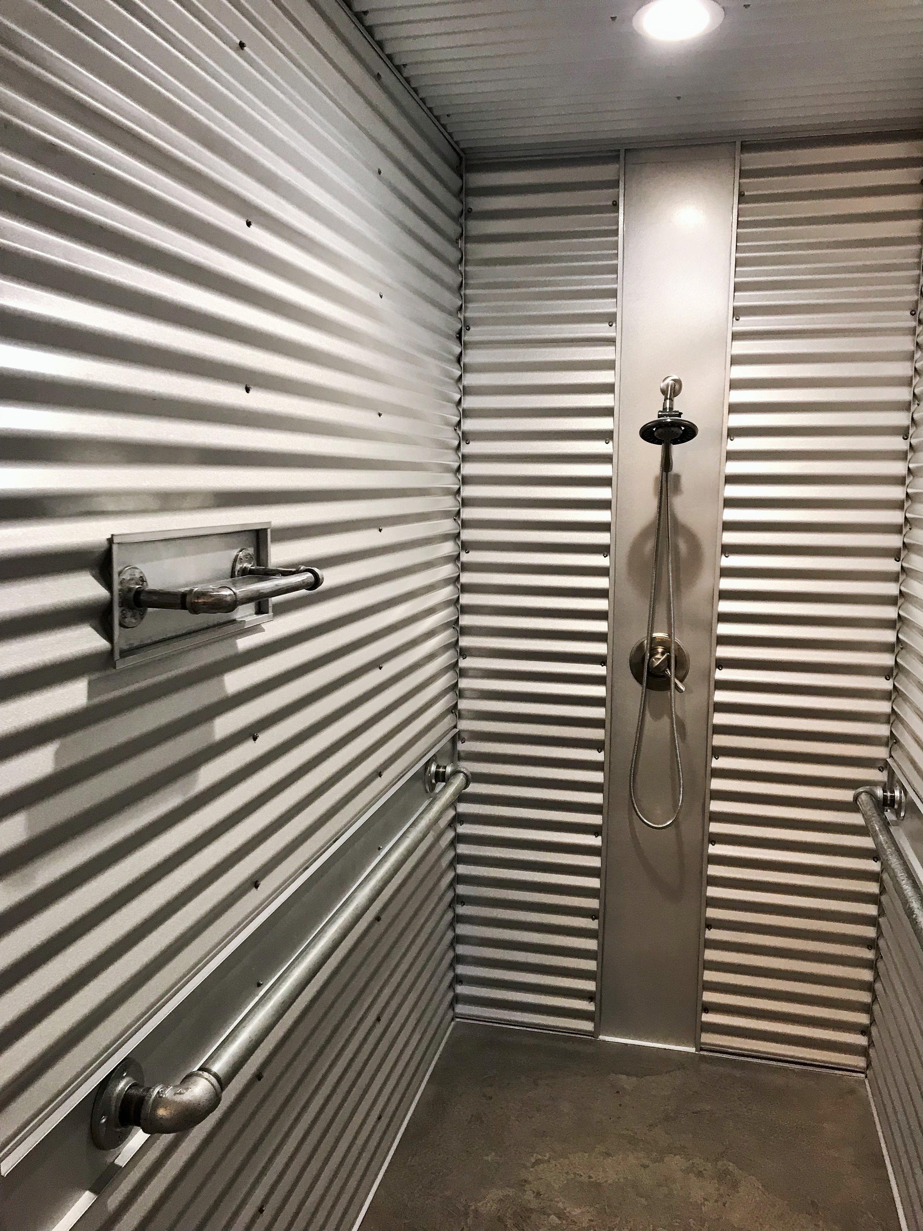 Metal Shower Walls : metal, shower, walls, Corrugated, Metal, Shower, Walls, Walls,, Galvanized, Shower,