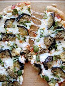 Roasted Eggplant Pizza With Fontina Ricotta Salata And Olives Recipe Eggplant Pizzas Roast Eggplant Eggplant Pizza Recipes