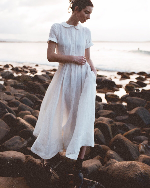 Peter Pan Collar Dress Washed Linen White Magnolia Www Sondeflor Com White Linen Dress Summer Linen Dress Pattern White Linen Dresses [ 1500 x 1200 Pixel ]