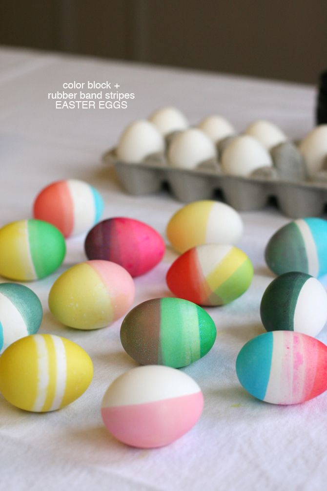 Color Block And Rubber Band Stripes Easter Eggs One Easter Eggs Easter Diy Easter Crafts Diy