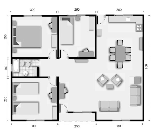 Croquis de casas de 60 metros cuadrados buscar con for Distribucion apartamento 50 m2