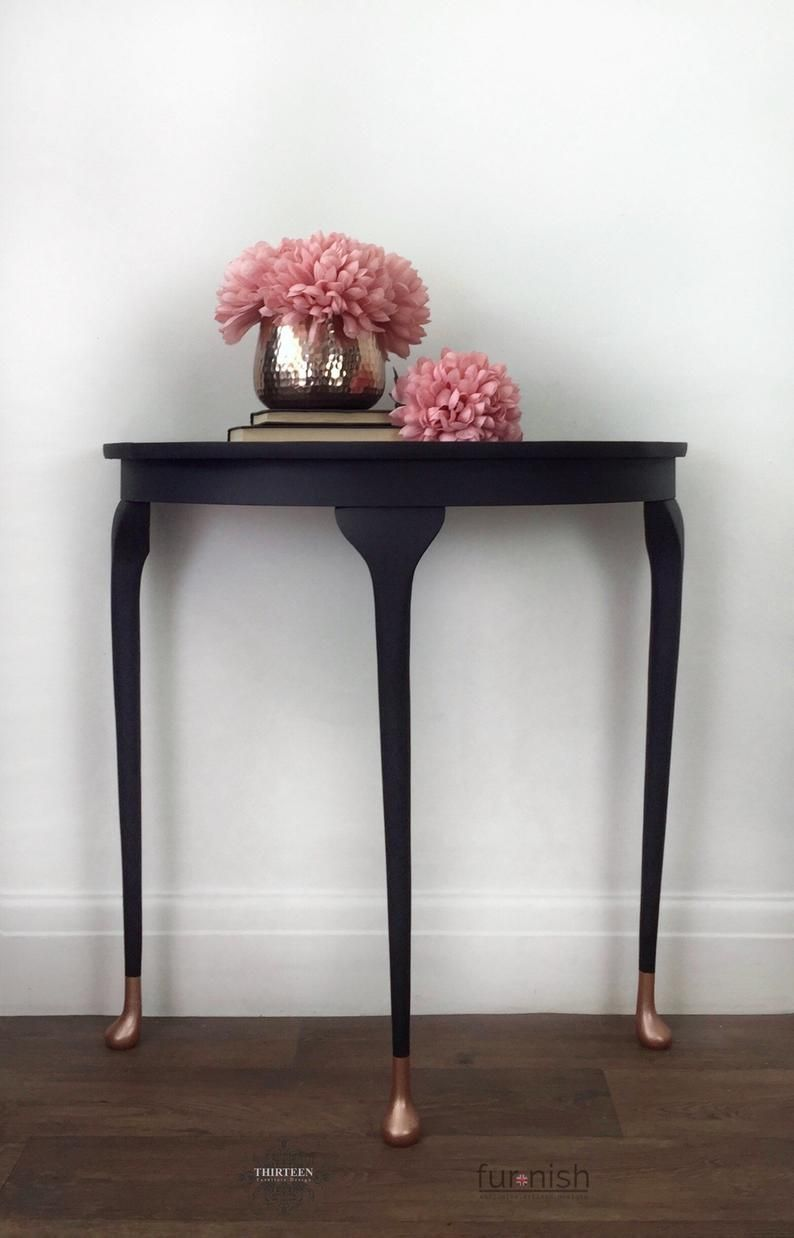 Black And Rose Gold Half Moon Hallway Table Painted Etsy Rose