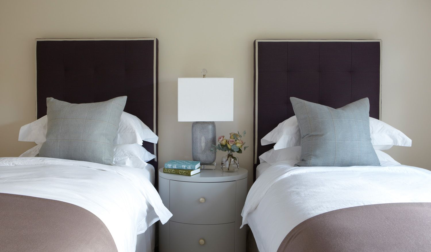 Guest Bedroom Design Ideas | Two Twin Beds | Neutral Home Décor | Taupe And  Blue