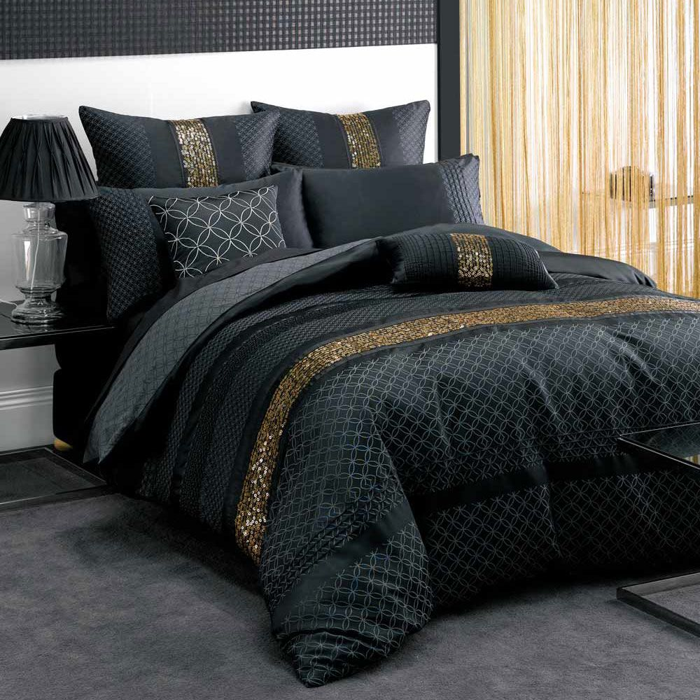 canvas of black and gold bedding sets for adding luxurious bedroom decors