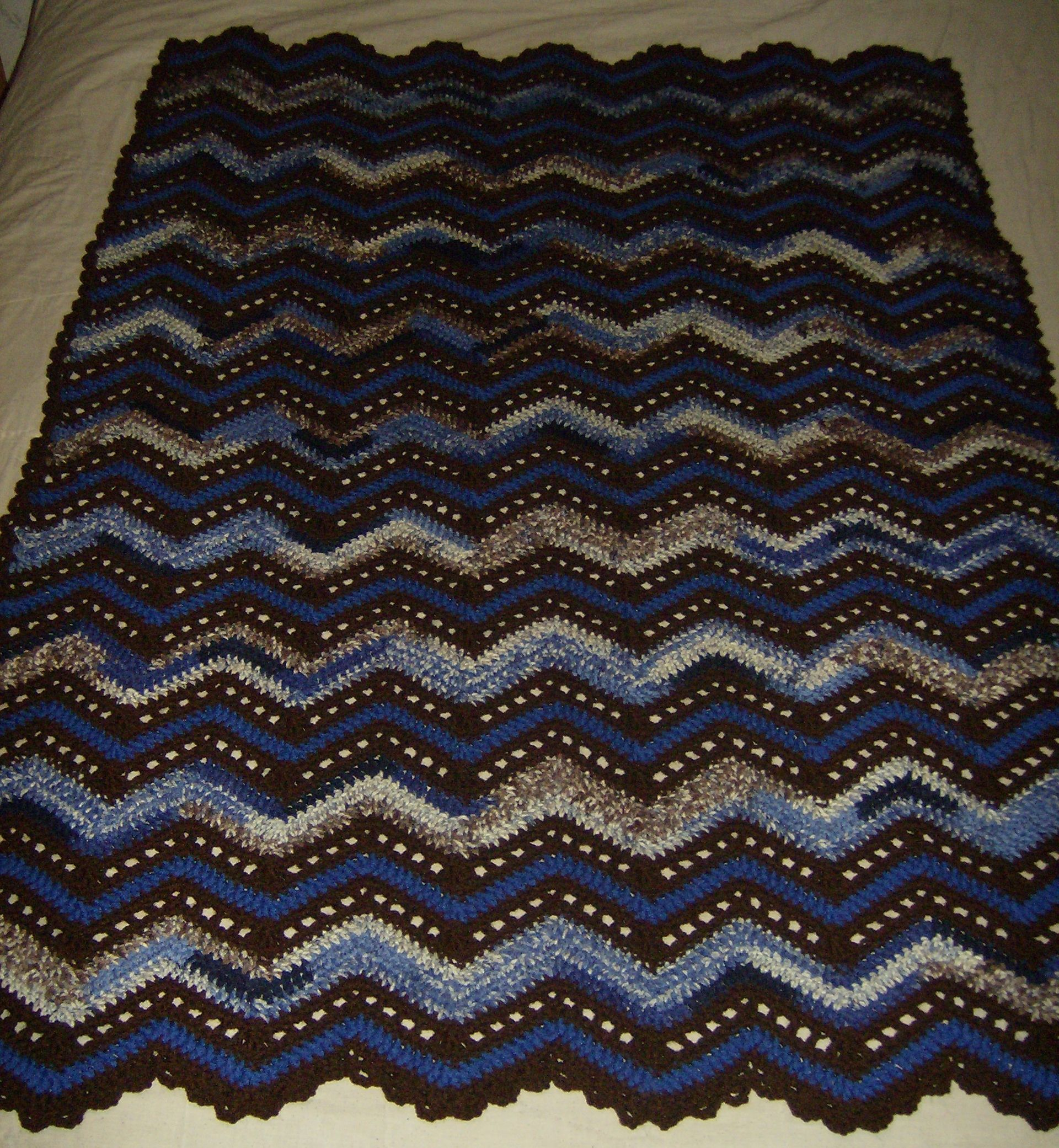 Playful Ripples Throw Crochet Afghan http://www.redheart.com/free ...