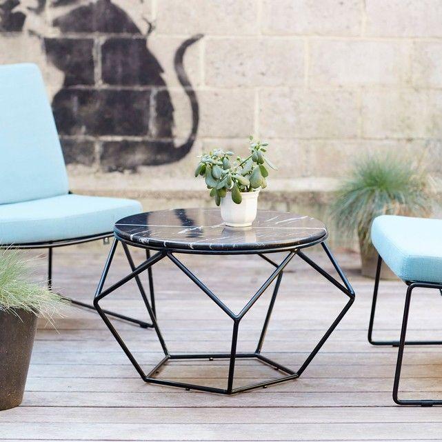 Table basse ronde de jardin en métal noir et marbre | Living rooms ...