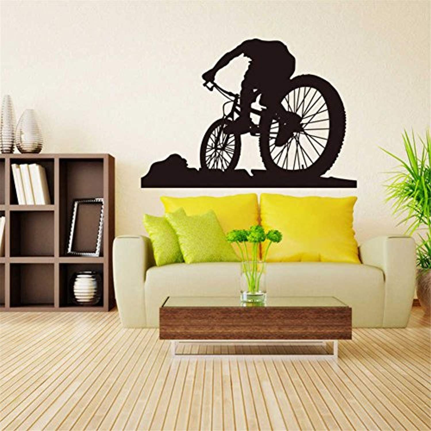 BIBITIME Bicycling Wall Art Decal Cycling Bicycle Silhouette Vinyl ...