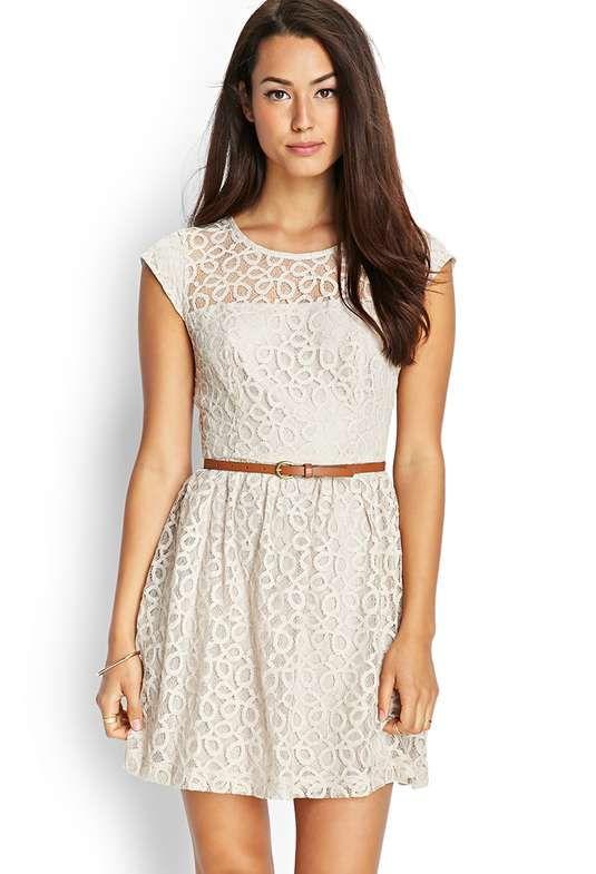 Love the Forever 21 Sleeveless Lace Skater Dress on