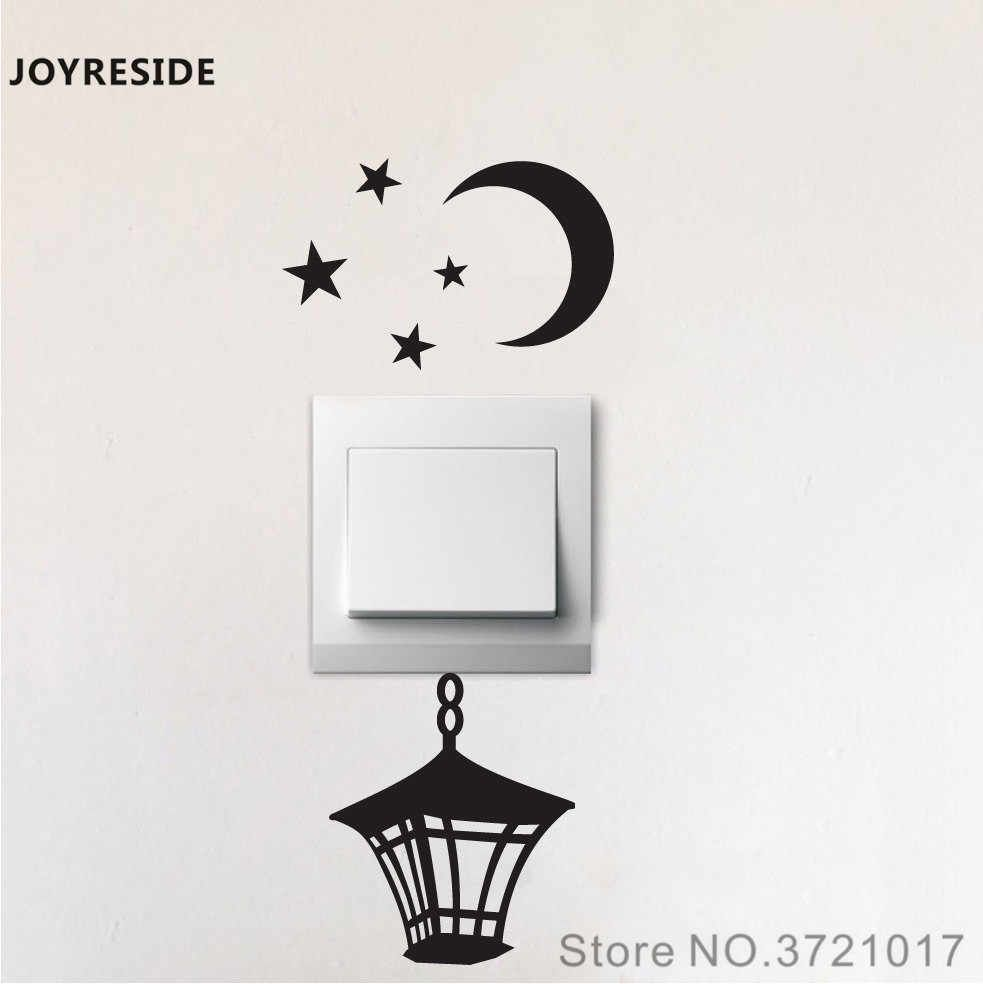 Joyreside Vintage Lantern Moon Stars Funny Light Switch Small Wall Decal Vinyl Sticker Room Home Hou Wall Painting Decor Wall Stickers Bedroom Sticker Wall Art
