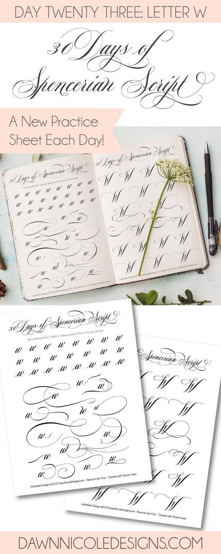 Spencerian Script Style: Letter W Worksheets   Kalligraphie ...