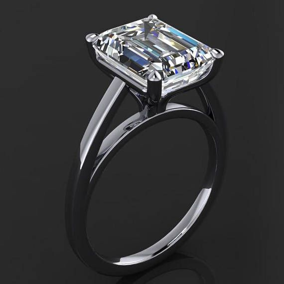 fa822d528eed32 naked mia ring – 3.5 carat emerald cut NEO moissanite engagement ring, solitaire  engagement ring