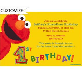 Custom Elmo 1st Birthday Invitations Thank You Notes Party City