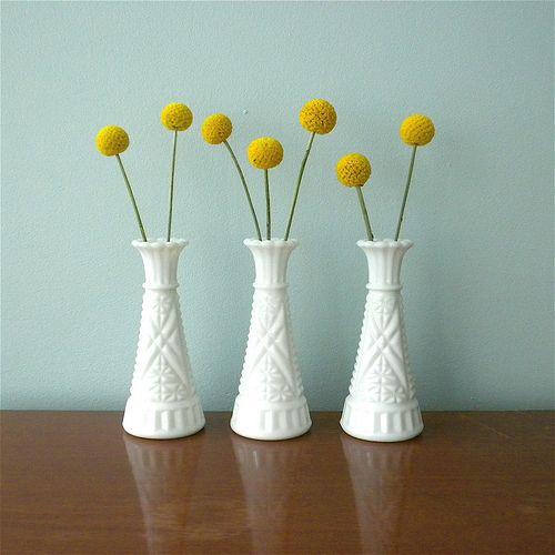 Vintage Milk Glass Bud Vases With Craspedia Milk Glass Collection Milk Glass Craspedia