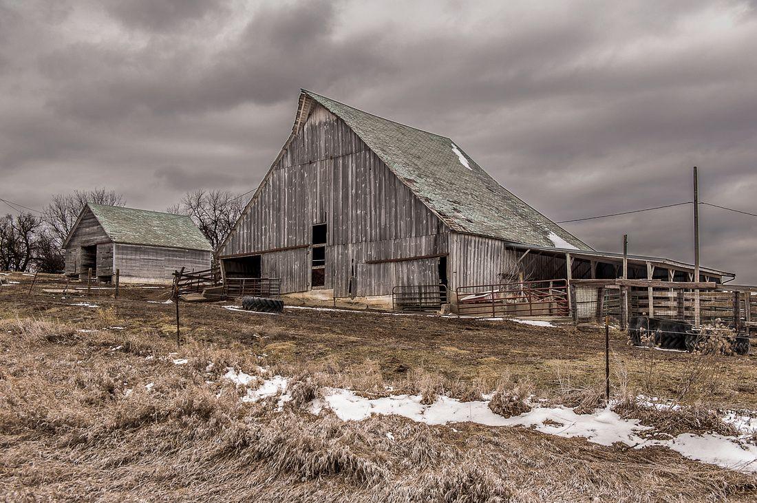 Abandoned Barn on a hillside in SW Iowa on a Winter Day ...