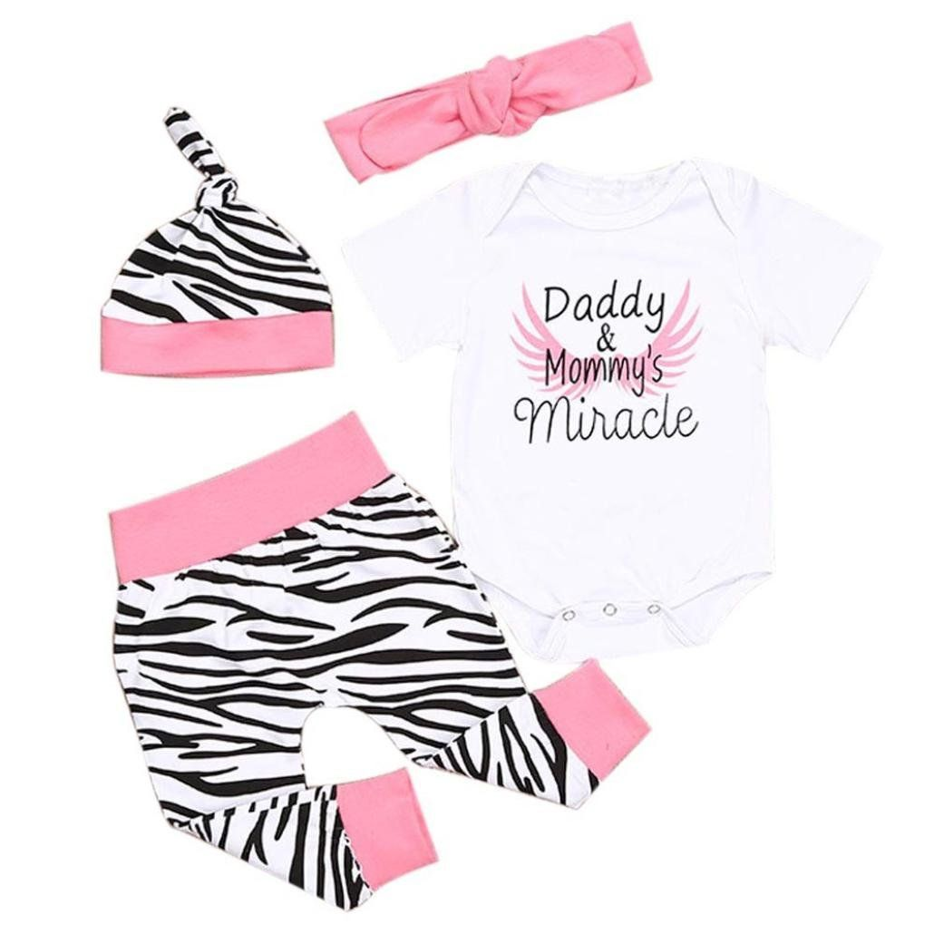 Efaster Cute Girls Daddy Mommy's Miracle Letter Leopard Romper Pant Hat Headband (6M). ▶The size details are in the Product Description,please check it carefully before you buy!!!. Gender:Girls. Pattern Type:Letter. Sleeve Length:Shorts Sleeve. Package include:1PC Shirt +1PC Long Pants+1PC Hat+1PC Headband.