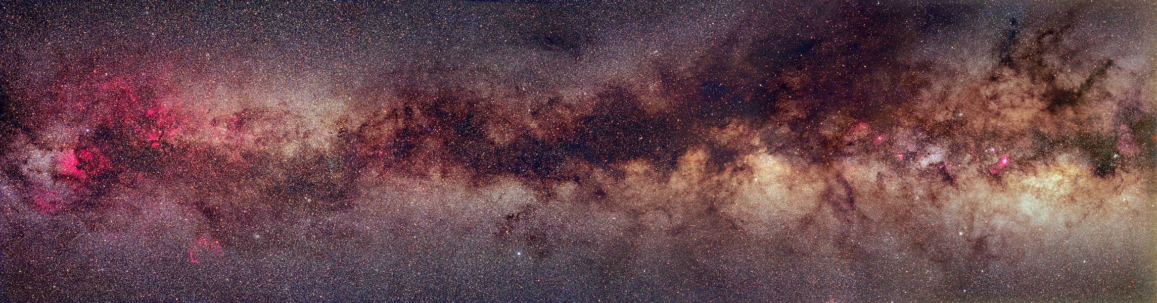 A Milky Way Band. Most bright stars in our Milky Way Galaxy reside in a disk. Since our Sun also resides in this disk, these stars appear to us as a diffuse band that circles the sky. The above panorama of a northern band of the Milky Way's disk covers 90 degrees and is a digitally created mosaic of several independent exposures.