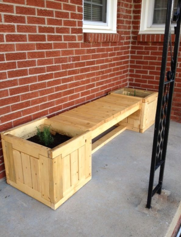 Planter Bench Made From Pallets With
