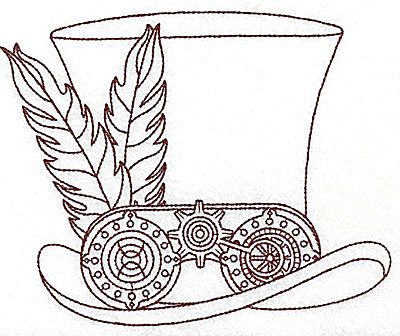 Machine Embroidery Design Steampunk Science Fiction Top Hat Feathers Gears Cogs Wheels Embellishment Dec Steampunk Coloring Steampunk Drawing Steampunk Tattoo