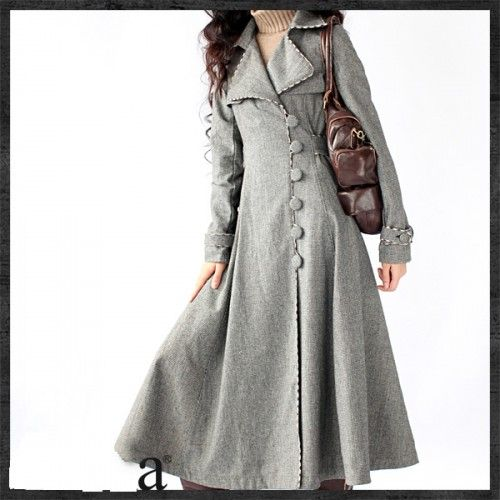 Grid Grey Woolen Winter Coat Cashmere Dress Coat Tunic for Women ...