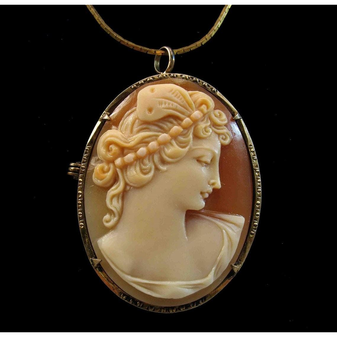 9ffb8d5f867f4 Psyche Bride of Cupid Shell Cameo 800 Silver Gilt Brooch Pendant in ...