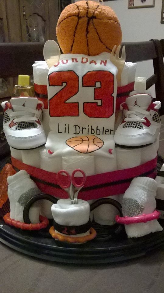 Jordan Baby Gift Baskets : Baby shower diaper cake michael jordan basketball