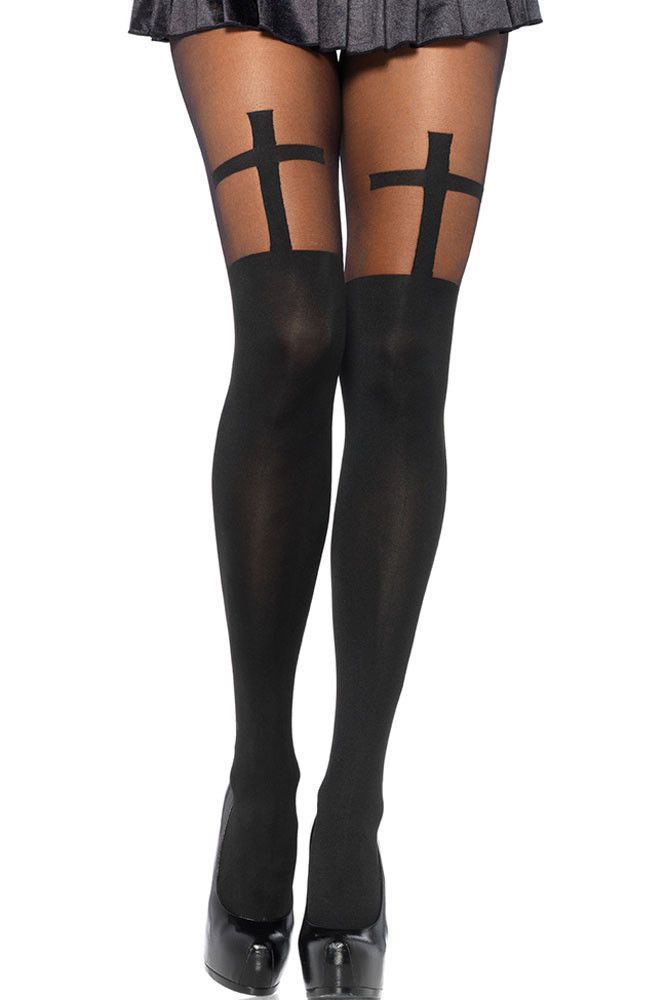 Brand New Women/'s Nu /& Nu Leg Wear One Size Black Opaque Tights With Spandex
