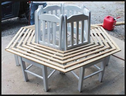 Nice Tree Bench Made From Kitchen Chairs, Diy, Outdoor Furniture, Repurposing  Upcycling, Woodworking