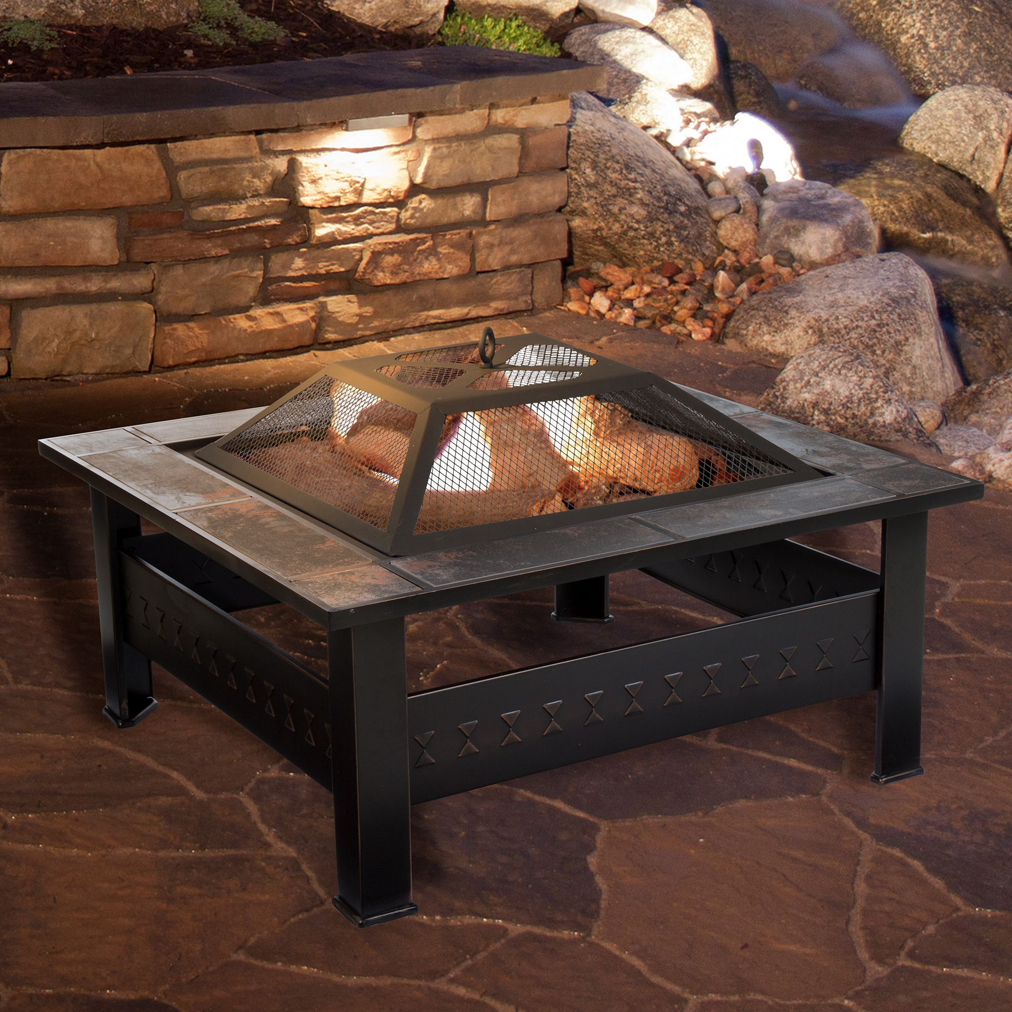 Pure Garden 32 Square Tile Fire Pit With Cover Bronze Finish Fire Pit Table Wood Burning Fire Pit Fire Pit Furniture