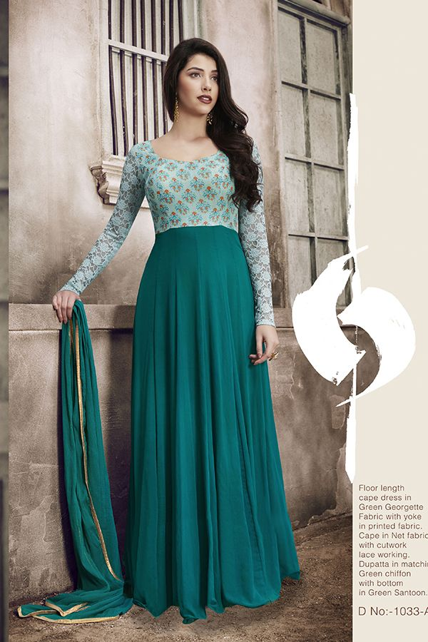 fc8a1b4a76 Teal Green Color Georgette Fabric Anarkali Designer Party Wear Dresses,  Indian Suits, Anarkali Suits