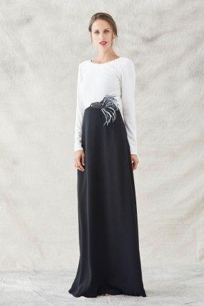 Vestido Bordado Blanco Bicolor En Redondo Pez Cuello Negro Larga Comprar Online Manga Largo Con Y 5XgxOx