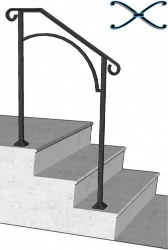 Iron X Handrail Arch 2 Railing Rail Fits 2 Or 3 Step Home