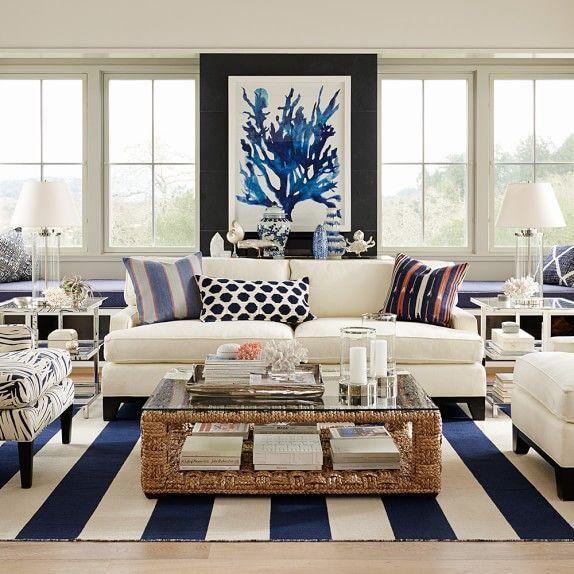 Lovely Oversized Indigo Coral Prints | Williams Sonoma
