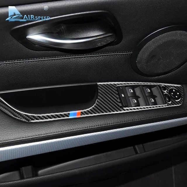 7d53cd5cd74c Airspeed 4pcs for BMW 3 Series E90 E93 Accessories LHD Car Interior Carbon  Fiber Door Window Switch Panel Cover Trim Car Styling Review