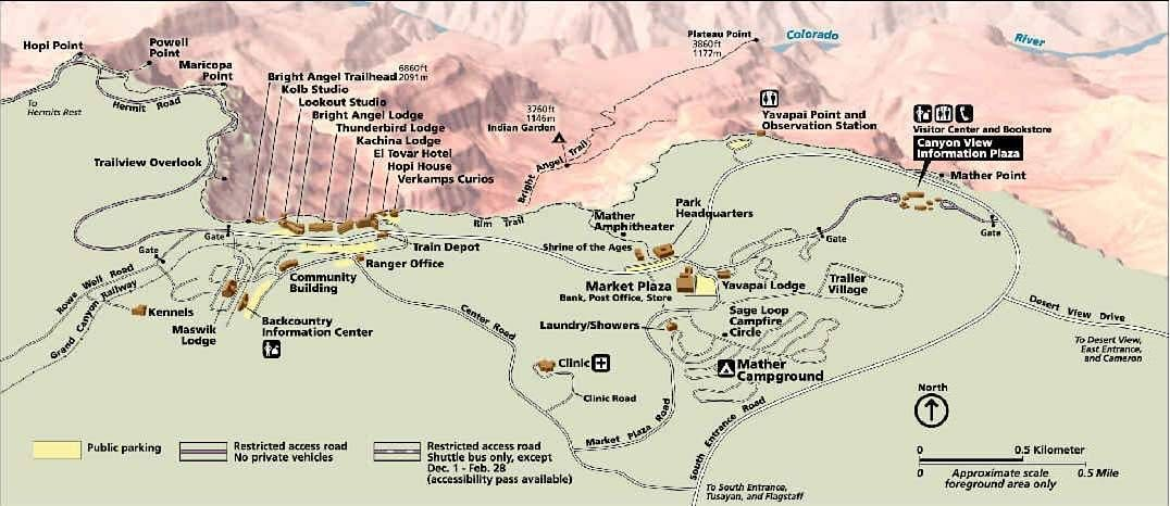 map of grand canyon village A Grand Canyon Christmas Visiting Arizona In December Grand map of grand canyon village