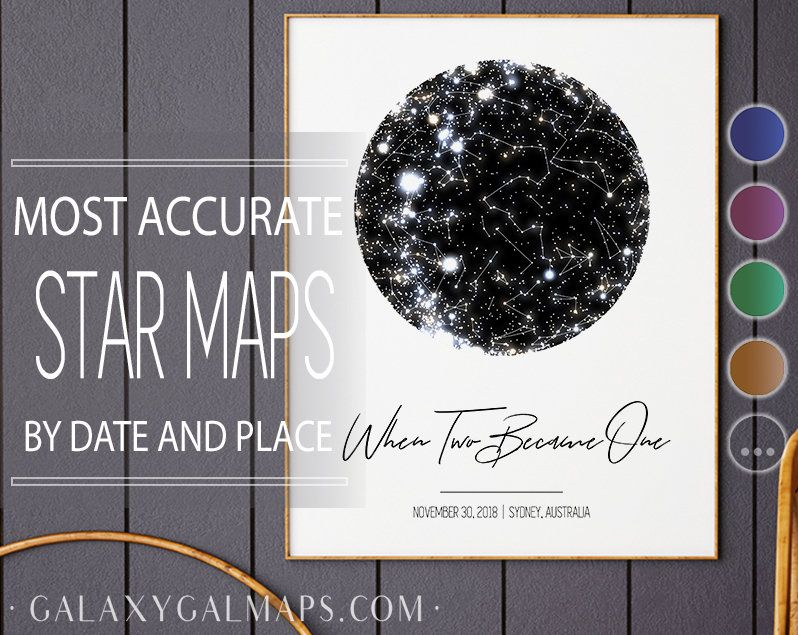 Star Map Print, Star Map By Date Poster, Night Sky Poster Print