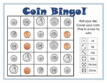 graphic about Money Bingo Printable named Coin Bingo Teachery Math bingo, Math card game titles, Math