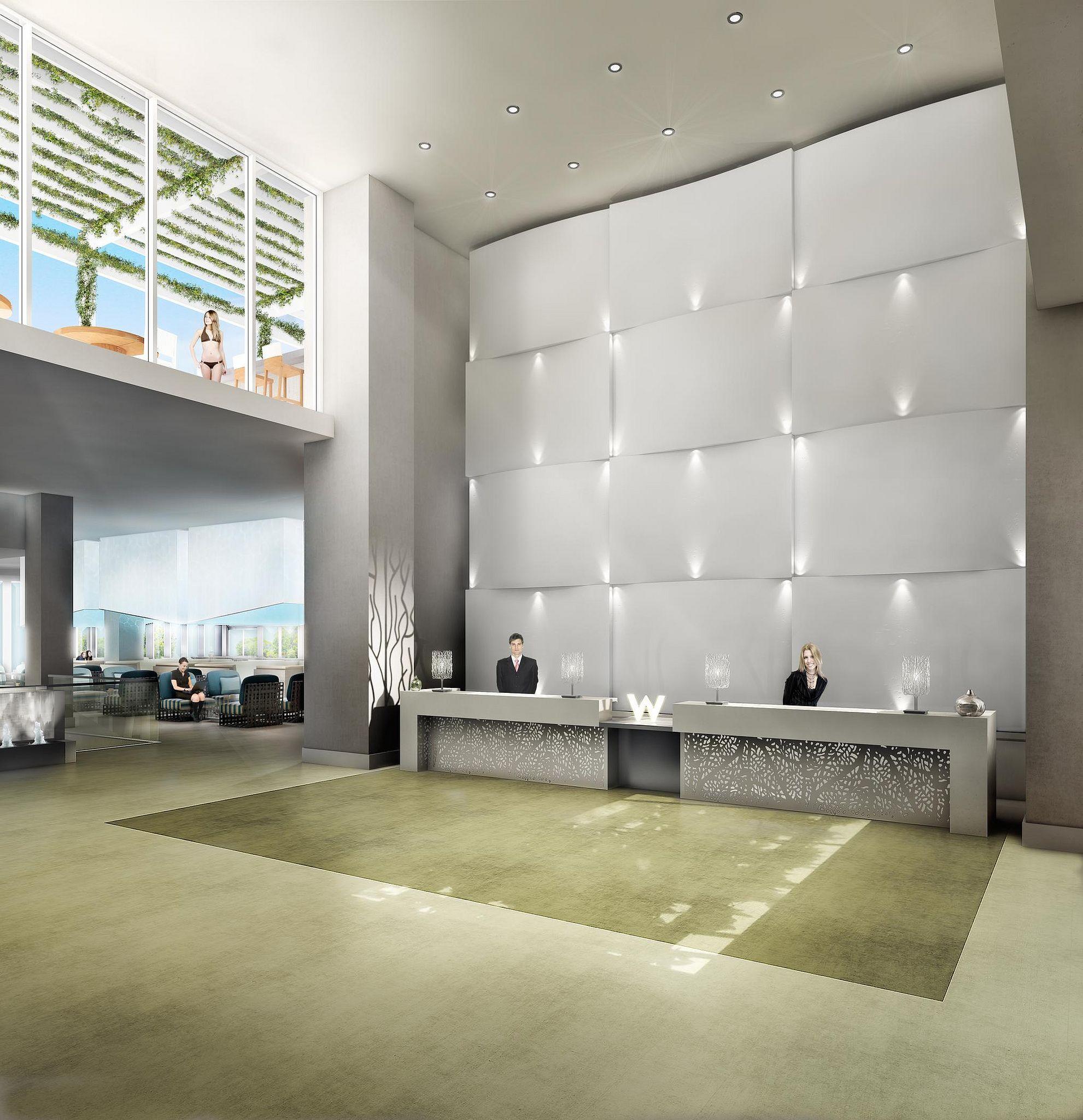 W Fort Lauderdale Rendering Welcome Desk Reception Desk Design Commercial Interior Design Front Desk Design