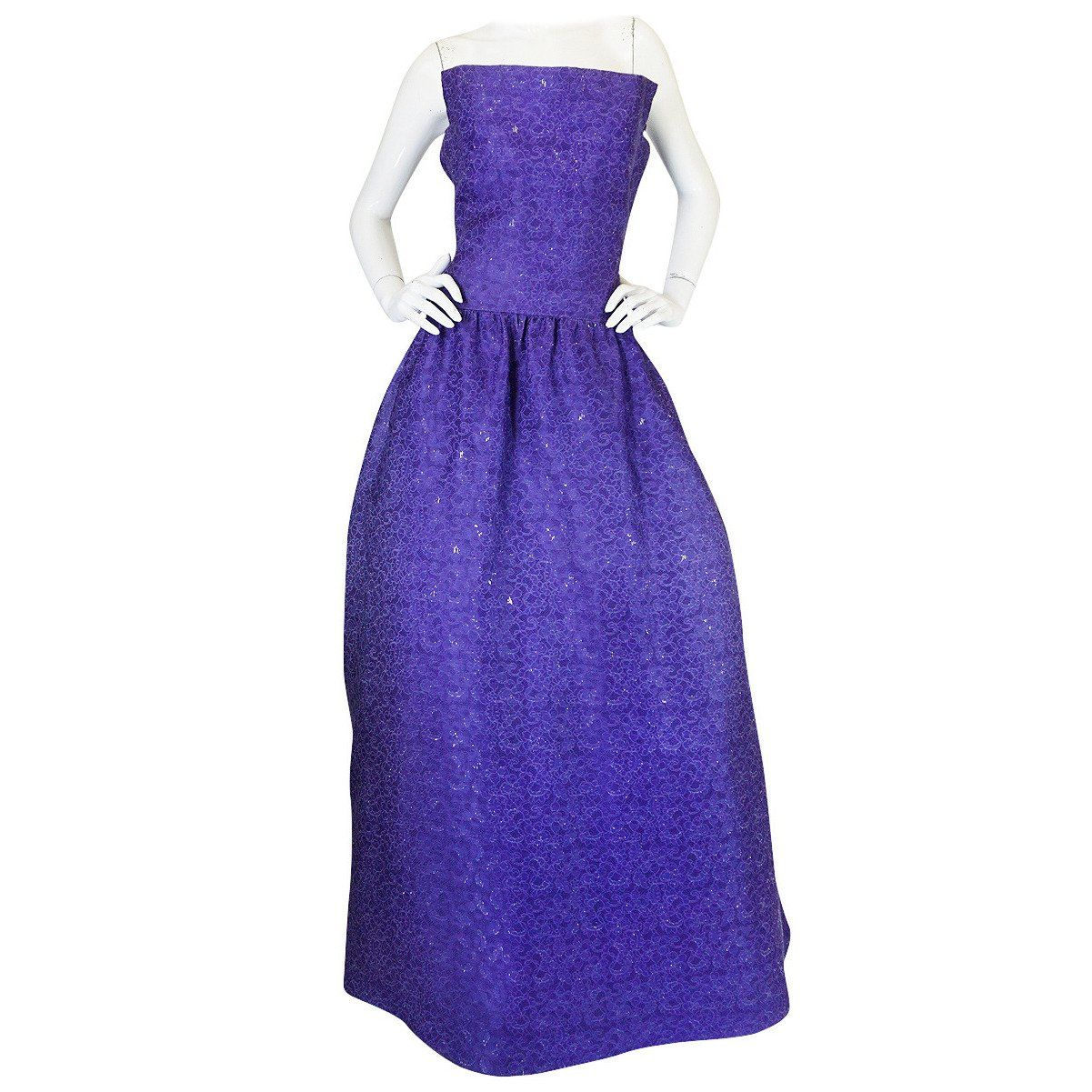 1960s Arnold Scaasi Couture Purple & Silver Gown | Silver gown ...