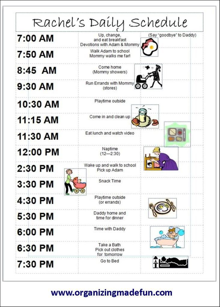 daily schedules for kids