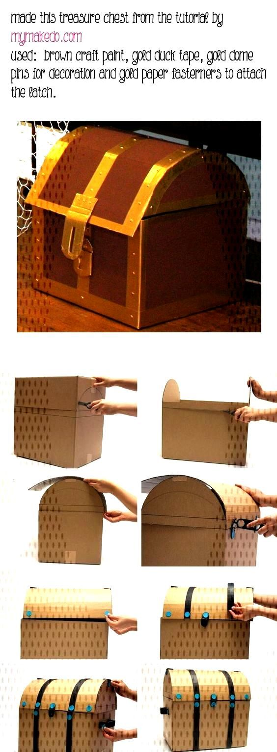 DIY pirate treasure box made of cardboard - ideal for