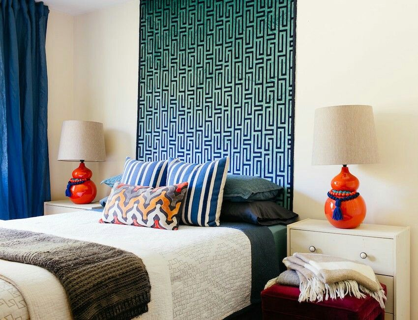 Colorful guest room by Diane Rath Mid century ranch